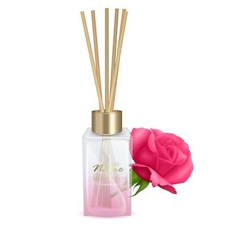Illustration glass jar with aroma sticks sticks of roses aroma realistic illustration