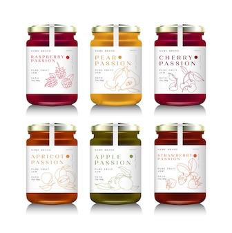 Иллюстрация стеклянных банок с различными джемом или медом