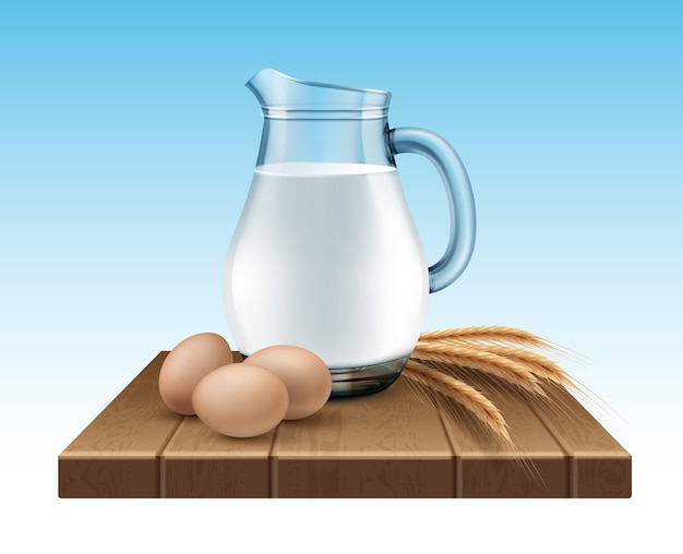 Illustration of glass jug of milk with wheat ears and eggs on wooden stand on blue background
