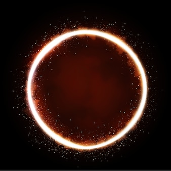 Illustration of glittering star , dust circle ,glow , lights.