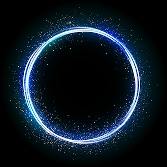 Illustration of glittering star , dust circle ,glow , lights.