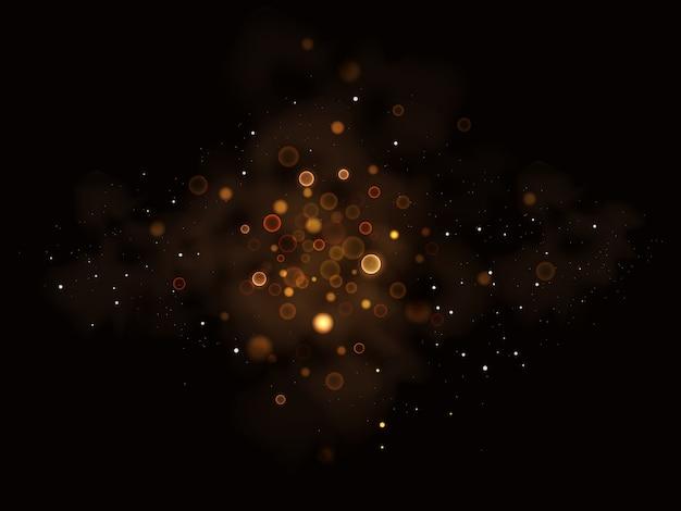 Illustration of glittering star , dust  ,glow , gold , lights.