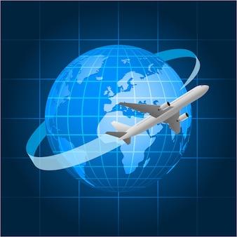Иллюстрация, глобус и пассажирский самолет, формат eps 10