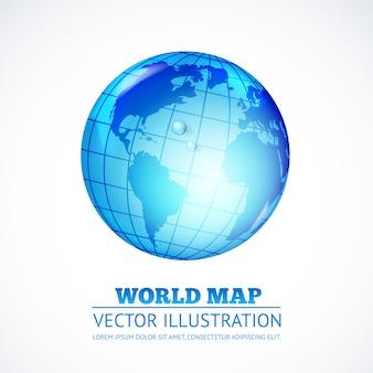 Illustration of globe inside water drop.