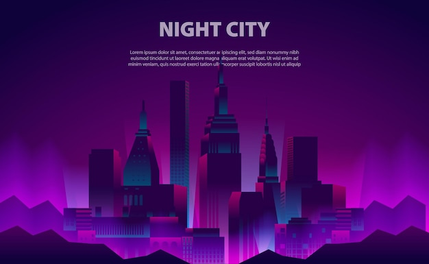 Illustration glow neon color night city skyscraper building with the electric light for background template