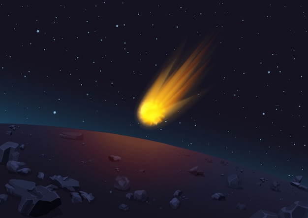 Illustration of glowing comet falling to planet in space.