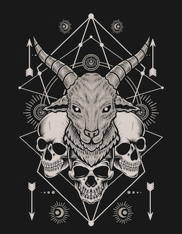 Illustration goat head with skull on black background