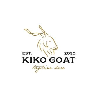 Illustration of goat line with long horns for logo