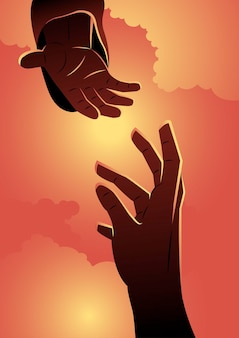 An illustration of god giving helping hand. biblical series