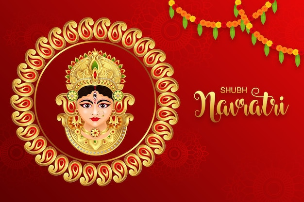 Illustration of goddess durga in happy durga puja subh navratri indian religious background