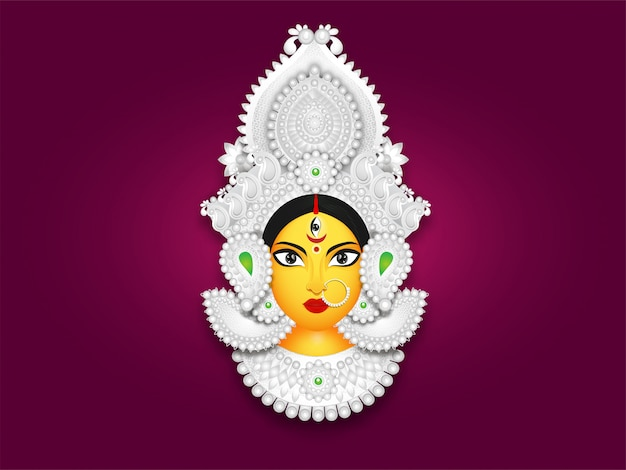 Illustration of goddess durga maa face