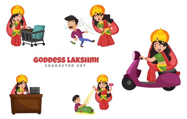 Illustration of goddess lakshmi character set