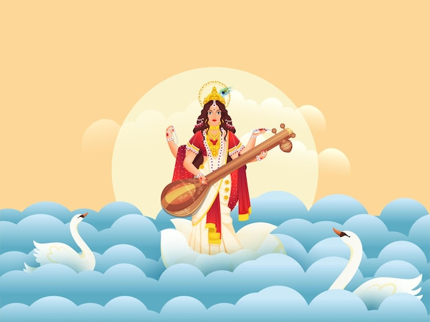 Illustration of goddess saraswati maa with swans and paper cut waves