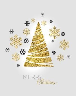 Иллюстрация золотая рождественская елка. праздничный фон