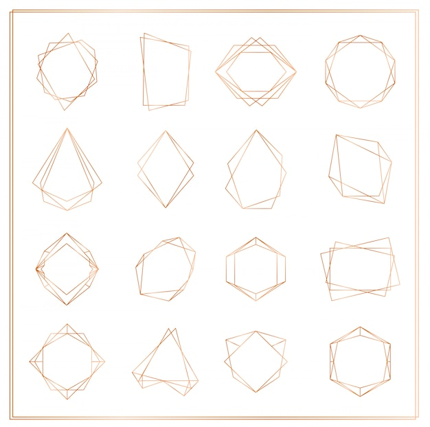 Illustration of gold segments frames set isolated on white background. geometric polyhedron thin line frames collection for wedding invitation, greeting cards, logo, elements for web banner.