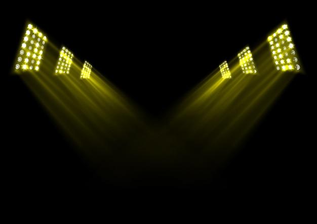 Illustration of gold stage lights background