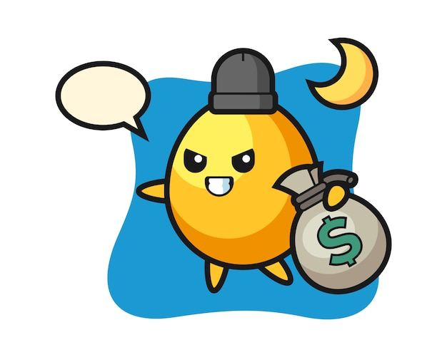 Illustration of golden egg cartoon is stolen the money, cute style design