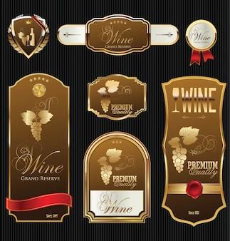Иллюстрация золотые рамки с виноградной лозой