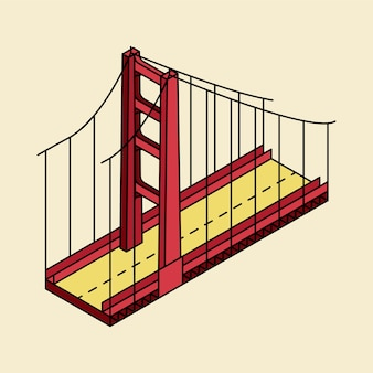 Illustration of the golden gate bridge san francisco in usa