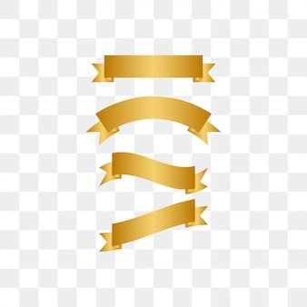 Illustration of golden ribbon template set vector