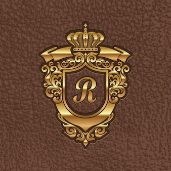 Illustration - golden royal coat of arms embossing on a leather