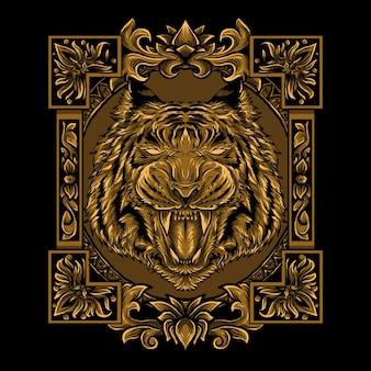 Иллюстрация золотой головы тигра гравюра орнамент