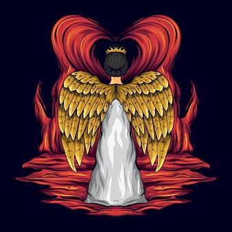 Illustration of a golden winged angel