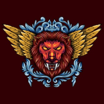 Illustration of a golden winged mythical lion head