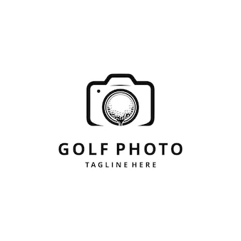 Illustration golf sport logo with ball on camera photography sign vector graphic