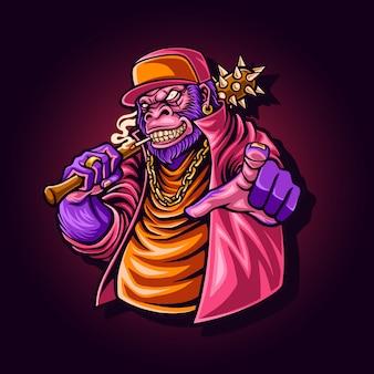 Illustration of gorilla gangster character