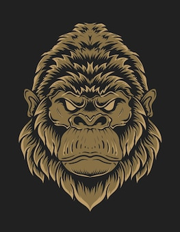 Иллюстрация головы гориллы на черном фоне
