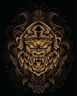 Иллюстрация головы гориллы с гравировкой старинного орнамента