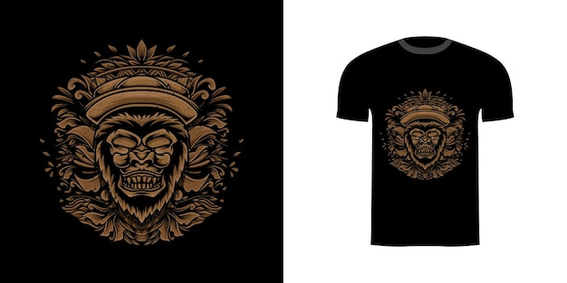 티셔츠 디자인을위한 조각 장식 그림 고릴라