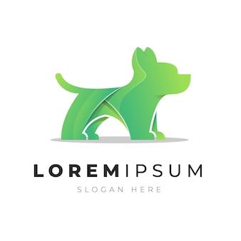 Illustration of gradient abstract dog logo