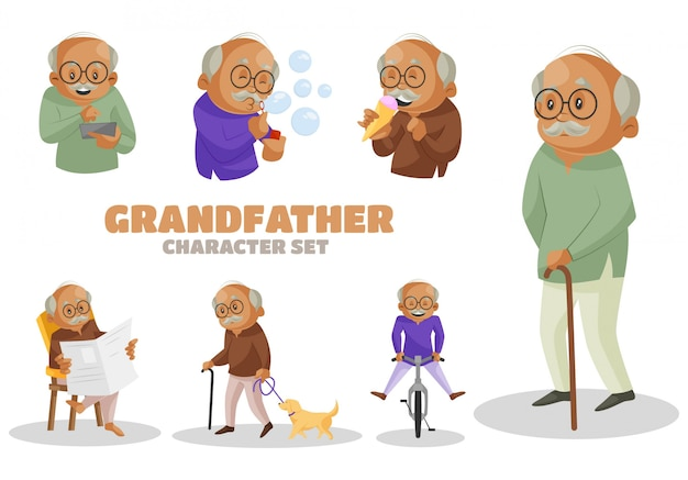 Illustration of grandfather character set
