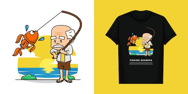 Illustration of grandfather is fishing with t-shirt design