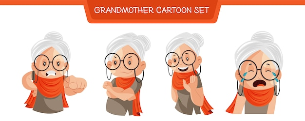Illustration of grandmother cartoon set
