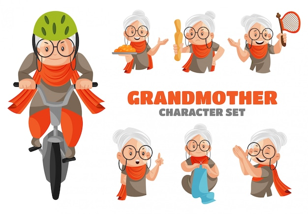 Illustration of grandmother character set