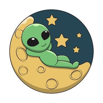 Illustration  graphic of alien cartoon lying on a crescent moon.