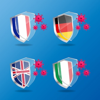 Illustration   graphic of antibacterial or anti-virus shield with flags