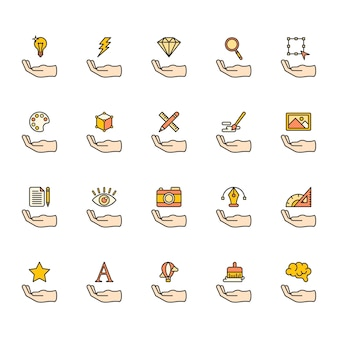 Illustration of graphic design icons set