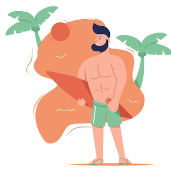 Illustration graphic design of a man on beach, standing and doing surfing. filled style flat design.