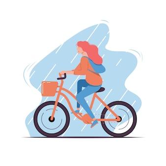 Графический дизайн иллюстрации женщины с велосипедом. заполненный стиль плоский дизайн.