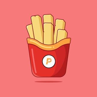 Графический дизайн иллюстрации ручек картошки, зажаренного француза с вид спереди и плоского дизайна.