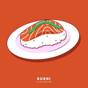 マグロ/サーモンチャンクの正面図と塗りつぶしスタイルのフラットデザインの寿司のイラストグラフィックデザイン。