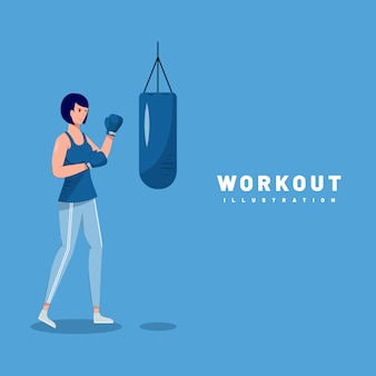 Illustration graphic design of woman doing workout with blue background and front view.