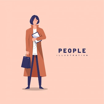 Illustration graphic design of woman holding tablet and paper bag with front view and filled style flat design.