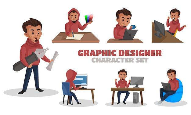 Illustration of graphic designer character set