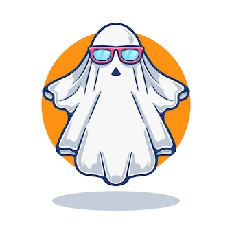 Illustration graphic of mascot cute ghost with eyeglass