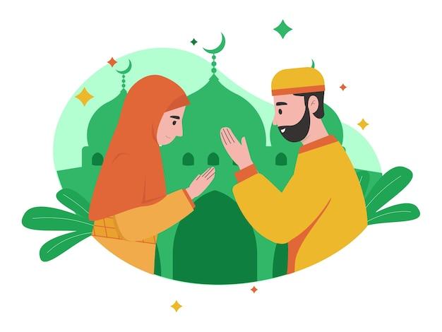 이슬람교도의 일러스트 그래픽이 eid mubarak ied fitr eid al-fitr 축하 행사에서 서로 인사합니다.